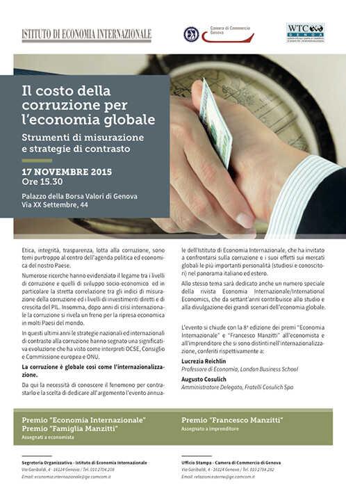 """Intervento del Procuratore Gian Carlo Caselli al convegno """"Il costo della corruzione per l'economia globale"""""""