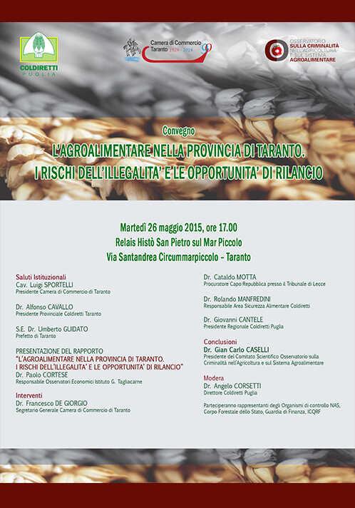 L'agroalimentare nella provincia di Taranto. I rischi dell'illegalità e le opportunità di rilancio.