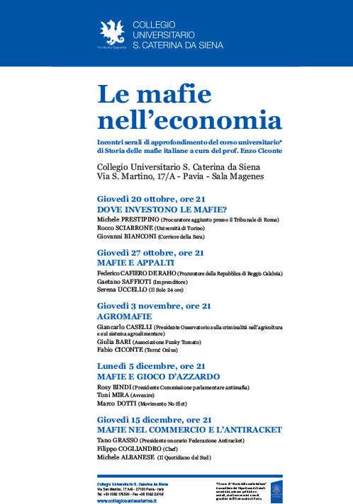 Le mafie nell'economia. Incontri serali di approfondimento del corso universitario di Storia delle mafie italiane