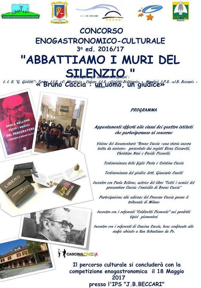 """III Edizione del Concorso enogastronomico culturale """"Abbattiamo i muri del silenzio. Bruno Caccia: un uomo, un giudice"""""""