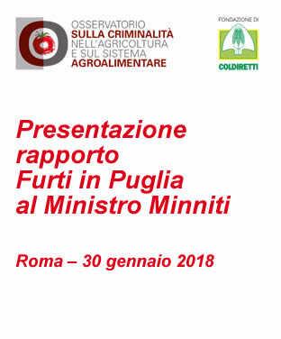Presentazione rapporto Furti in Puglia al Ministro Minniti