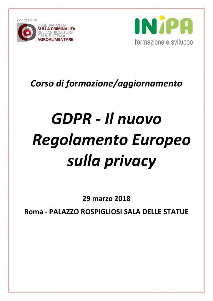 Corso di formazione/aggiornamento – GDPR – Il nuovo Regolamento Europeo sulla privacy