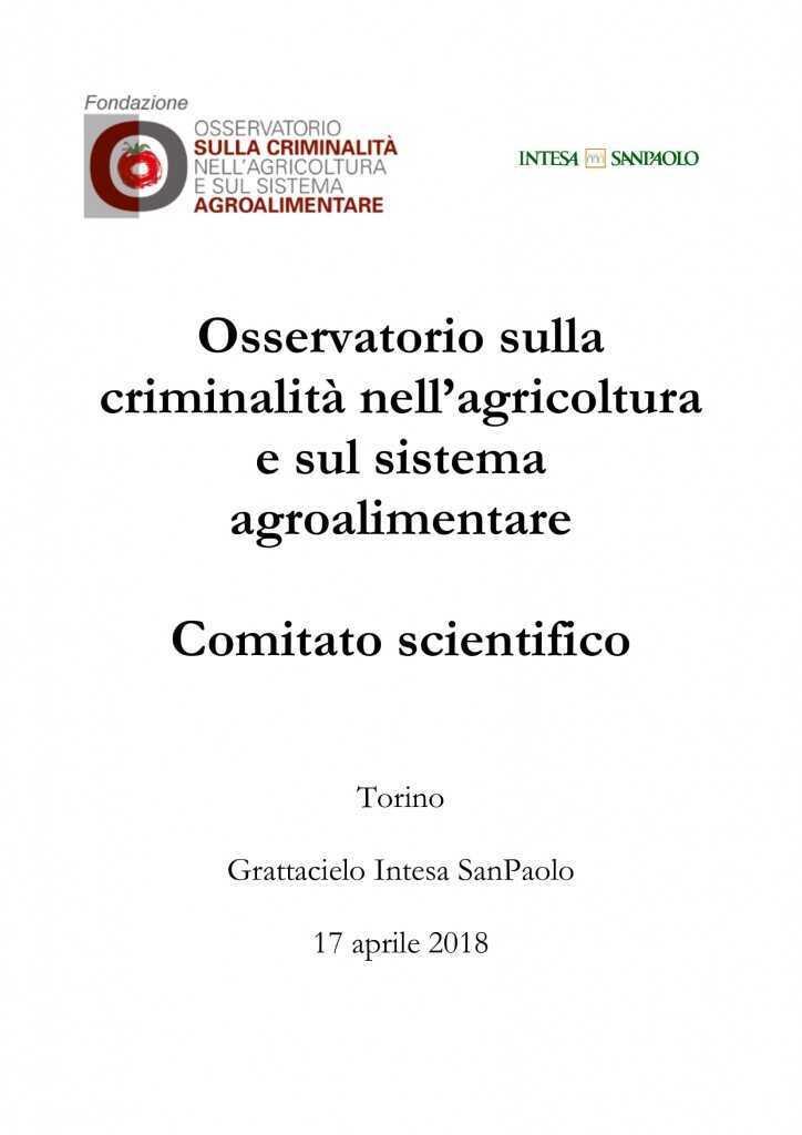 Comitato scientifico Osservatorio sulla criminalità nell'agricoltura e sul sistema agroalimentare