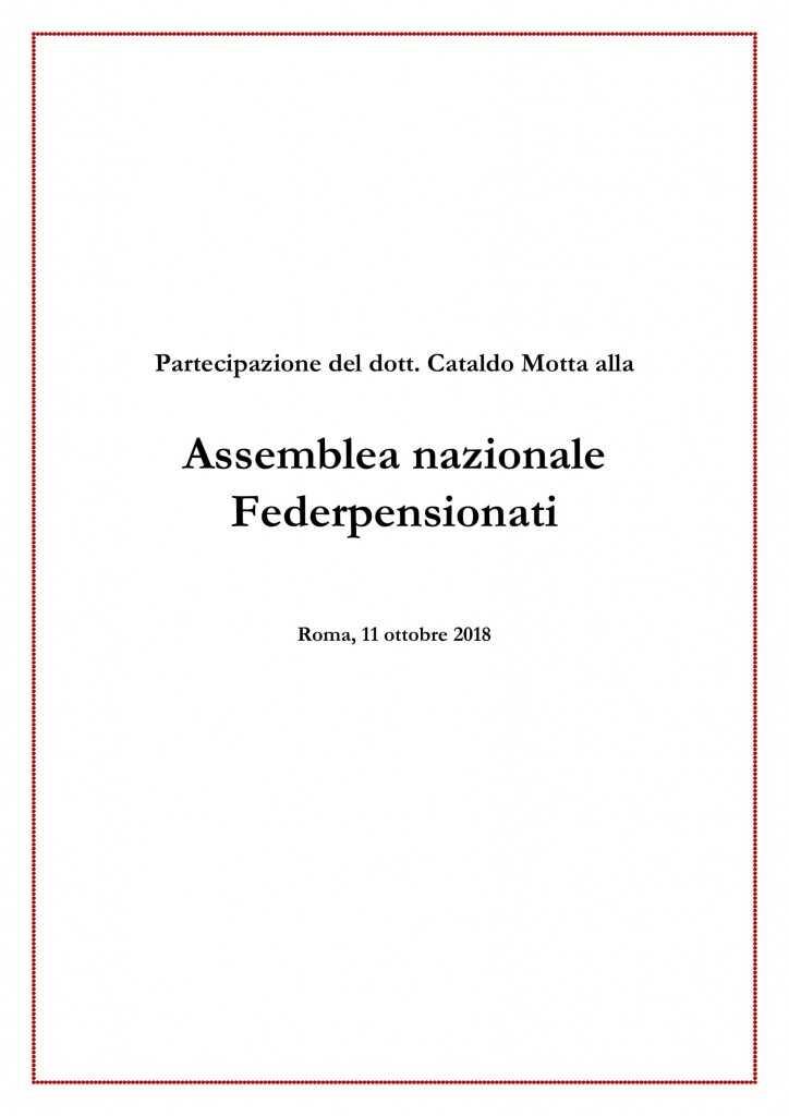 Partecipazione del dott. Cataldo Motta all'Assemblea Nazionale Federpensionati
