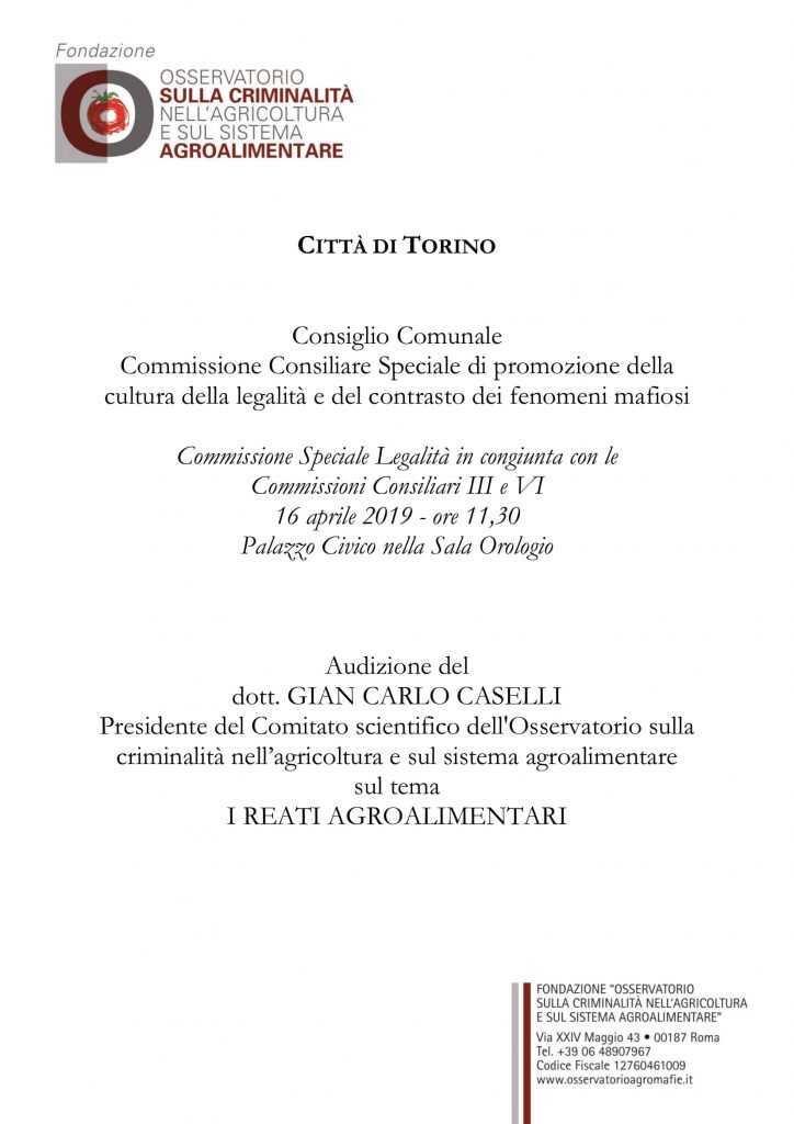 Audizione del dott. Gian Carlo Caselli sul tema I REATI AGROALIMENTARI