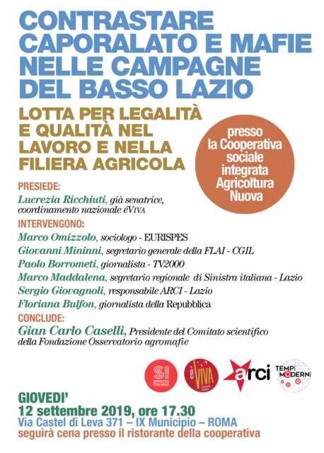 Contrastare caporalato e mafie nelle campagne del basso Lazio – Lotta per legalità e qualità nel lavoroe  nella filiera agricola